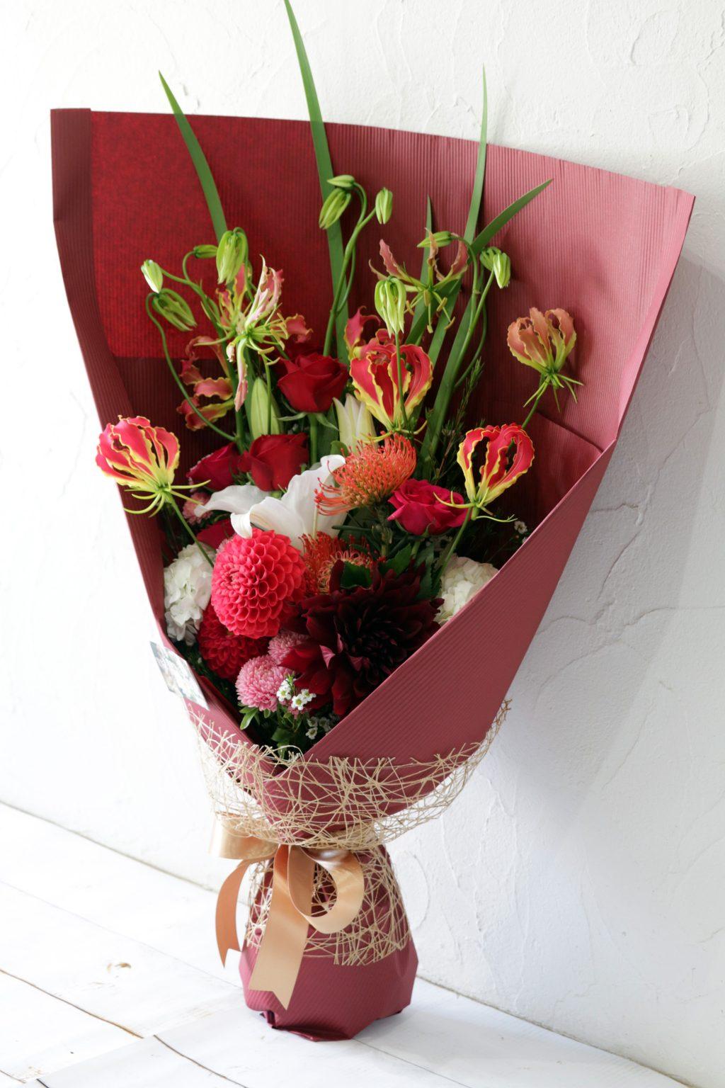 花束 贈呈用に ロングスタイル(ガーネット)