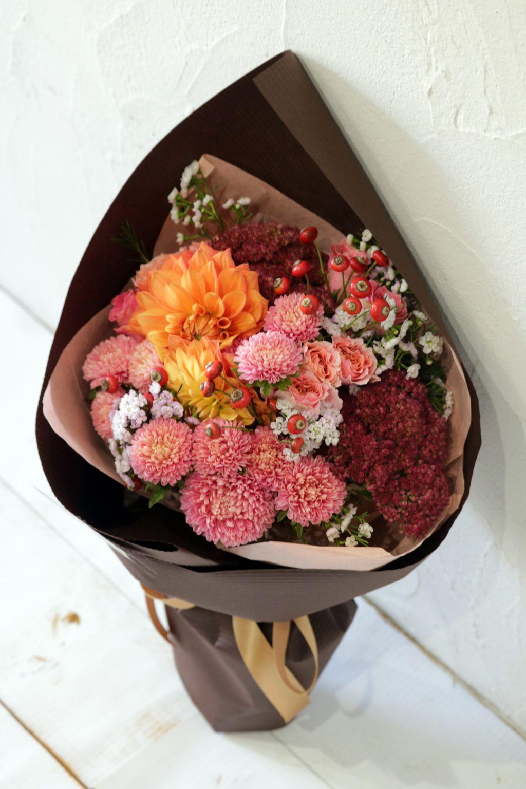 花束 ブーケスタイル (パンプキンオレンジ)