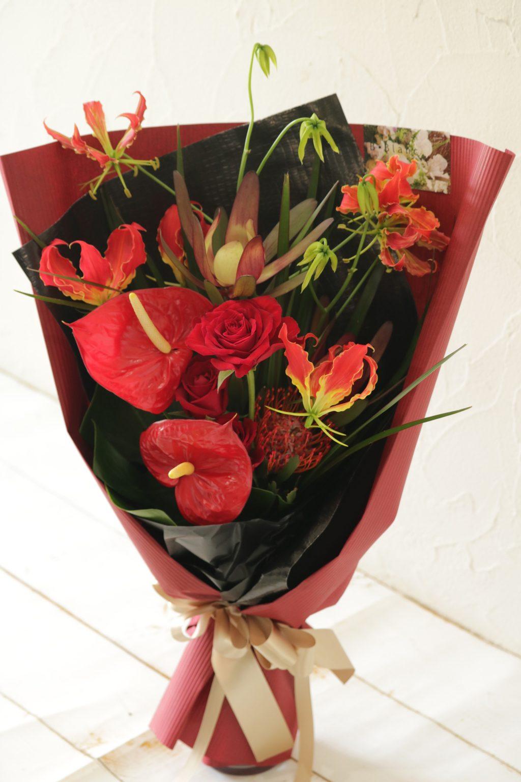 花束 贈呈用に ロングスタイル(レッドカラー)