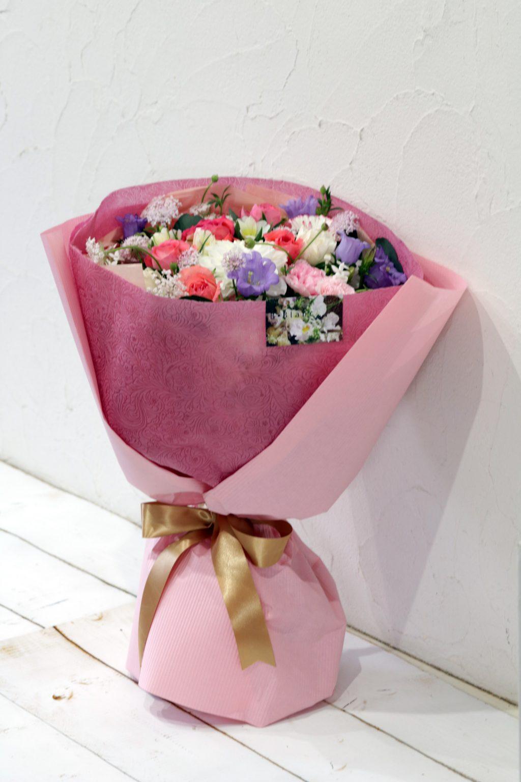 花束 ブーケスタイル(フクシアピンク)