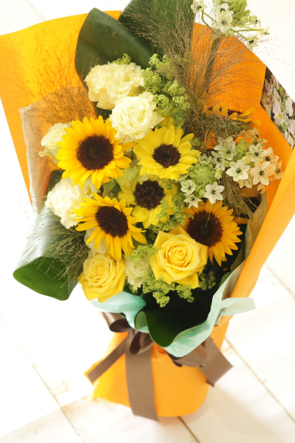 花束 贈呈用に ロングスタイル(イエローカラー)