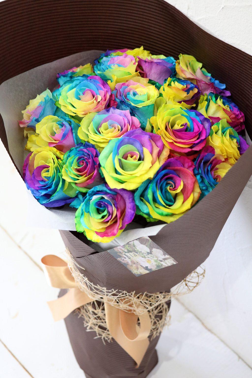花束 20本のレインボーローズの花束